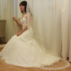 Cathedral Length Full lace edged wedding veil