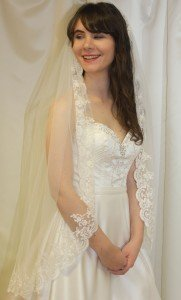 Waist Length Full lace edged Wedding Veil