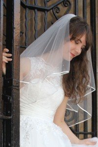 satin edge ivory wedding veil