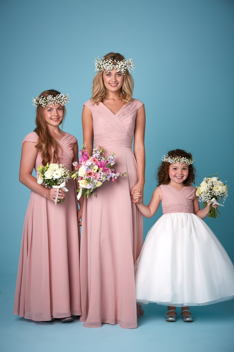 Bridesmaids dresses liverpool copplestones bridal 2262 bridesmaids gowns with wide straps which can be worn on or off the shoulder shown here in coral chiffon clover pink chiffon and oyster grey chiffon ombrellifo Gallery